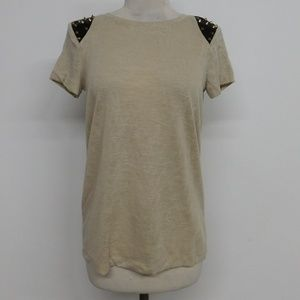 NWT Forever21 Beige Studded Knit Top Short Sleeve